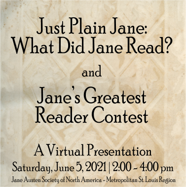 Just Plain Jane: What Did Jane Read? and Jane's Greatest Reader Contest @ Zoom